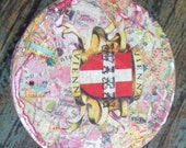 Decopauged VIENNA MAP CONTAINER, Repurposed Quaker Oats Box,Shabby Chic Decor,Decoupaged Art,Maps,Tourist Maps,Yarn Storage,Rose Petal