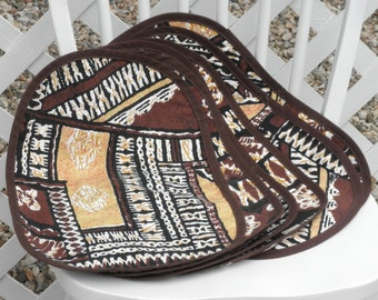 Hawaiian Print Fabric Placemat Reversible Set of Six Tapa Print Vintage Made In Hawaii