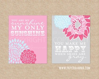 You Are My Sunshine Wall Art Print Set, Pink, Grey, Nursery Decor, Art Print or Canvas // Your Choice of Colors // N-G02-2PS AA1 03S