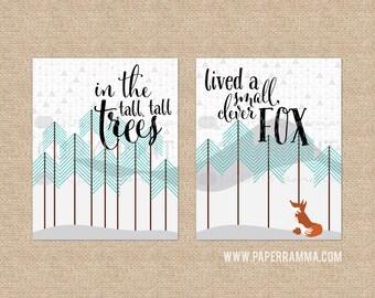 Clever Fox Nursery Art, Woodland Nursery Prints, Modern Nursery/Kids Room Art, Cute Woodland// Choose Art Print or Canvas // N-XW08 -1PS AA1