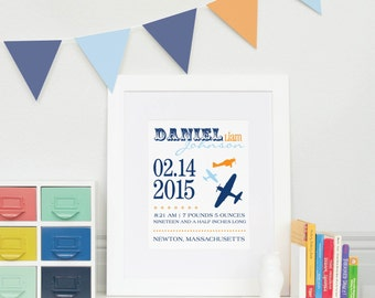 New Baby Gift//Airplane Birth Announcement Print  // Archival Giclée Art Print for Nursery // N-B04-1PS AA6
