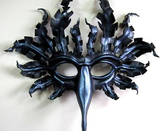 Large Fantasy Raven mask, hand-shaped leather, in black with metallic purple, blue, and graphite highlights, crow, corvid, Halloween