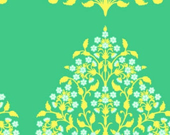 "Laminated Cotton Amy Butler Fabric Henna Trees in Grass From the Lark Collection 1 Yard by 58"" wide"