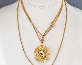 Antique Art Nouveau Locket, Gold Fill Photo Locket Pendant, Paste Rhinestone Pendant, Engraved Anniversary Girlfriend Gift, Antique Jewelry