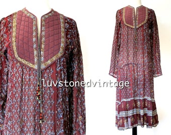 70s Vintage Taja Maroon Indian India Ethnic Boho Hippie Cotton Gauze Tent Gypsy Festival Maxi Dress . XS / S . 917.10.23.14