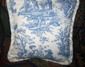 "15"" Square Pillow Made from Vintage 1940's Napkin, Blue Flowrs, Round Vintage Buttons and Blue Toile, price reduced"