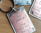 Personalized Copper and Sterling Etched Keychain