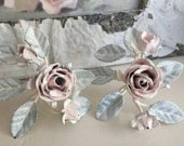 Shabby Chic Pink Rose Chippy Metal Napkin Holders - Paris Apt - Table Decor
