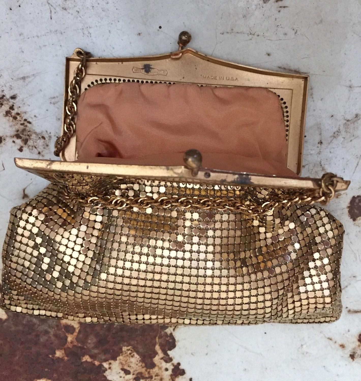 Vintage 1940s Whiting and Davis Gold Mesh Handbag