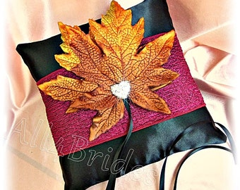 Wedding pillow, burgundy and burnt orange Fall leaves wedding ring bearer pillow
