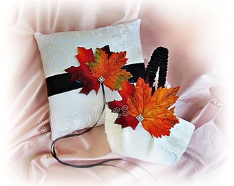 Lace and Fall leaves wedding ring bearer pillow and flower girl basket, Fall wedding ring cushion and basket set.