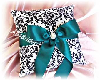 Wedding ring pillow, teal and madison damask ring bearer pillow.  Damask wedding ceremony accessories