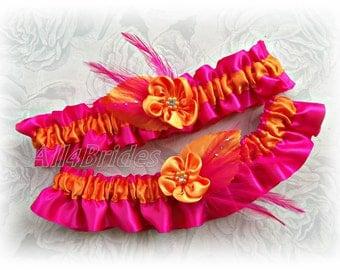 Orange and hot pink bridal leg garters, wedding bridal accessories, prom garters