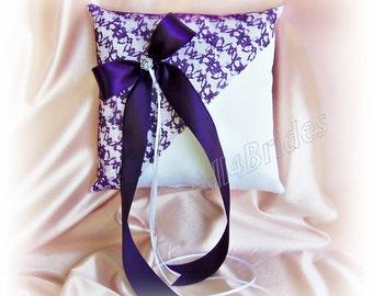 Purple lace wedding pillow.  Wedding ring bearer pillow deep purple wedding decorations.