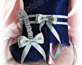 Wedding Navy Blue and Grey Ring Bearer Pillow and Flower Girl Basket, satin ring cushion and basket set