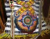 Beaded boho bag Black and white handwoven beaded crossbody bag
