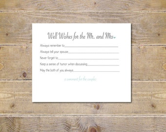 Guestbook . Bridal Shower Activity . Well Wishes Cards . Wedding Advice Cards . Bridal Shower Wishes - Well Wishes for Mr. and Mrs.