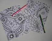 Instant Download Doodle Coloring Pages - 5 Printable Designs  - Set 4