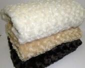Swirl Rosebud Minky Blanket or Throw in Chocolate, Carmel, Vanilla, Ivory or Black