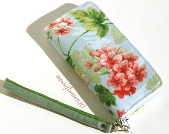 Pink Hydrangea Zip Around Wallet - Wristlet With Removable Strap - iPhone Case - Cell Phone Case