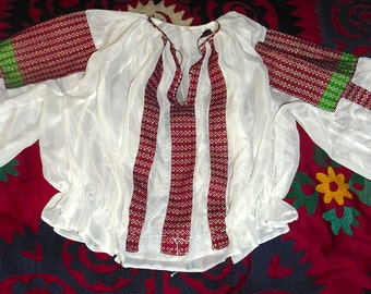 Vintage Romanian Blouse embroidery panels appliquéd on white chiffon