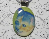 Calico cat pendant / kitten necklace / kitty jewelry / wearable cat art / fur baby / blue chat / azul gato / N214