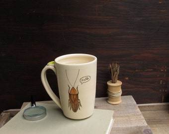 Brown cockroach mug, HELLO cockroach mug, insect mug, brown and white, woodland cabin home decor