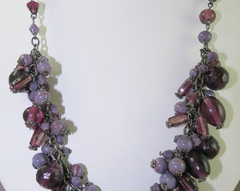 Cluster Necklace with Vintage Glass Beads
