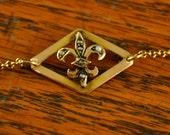 Antique Fleur De Lis Tie Pin Turned Bracelet