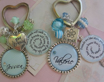 Personalized  friends keychain in mint and blue, price is per item
