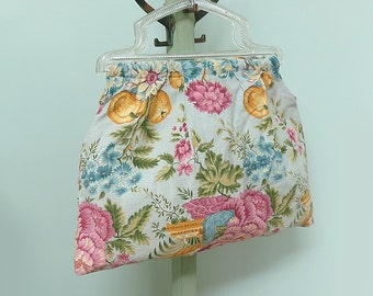 Vintage Yarn Tote or Sewing Bag with Clear Plastic Handles and Floral Fabric in Blue, Gold, Green, Cream and Plum