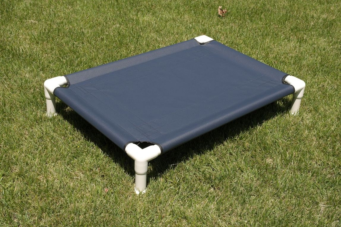Sale dog bed cot navy blue pvc pipe frame bed cat bed for Pvc cat bed