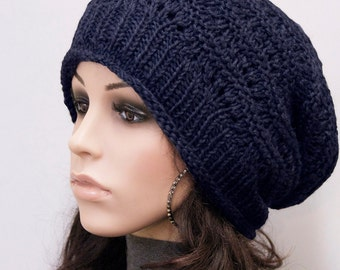 Hand knit woman men wool hat Navy slouchy  hat unisex hat - ready to ship