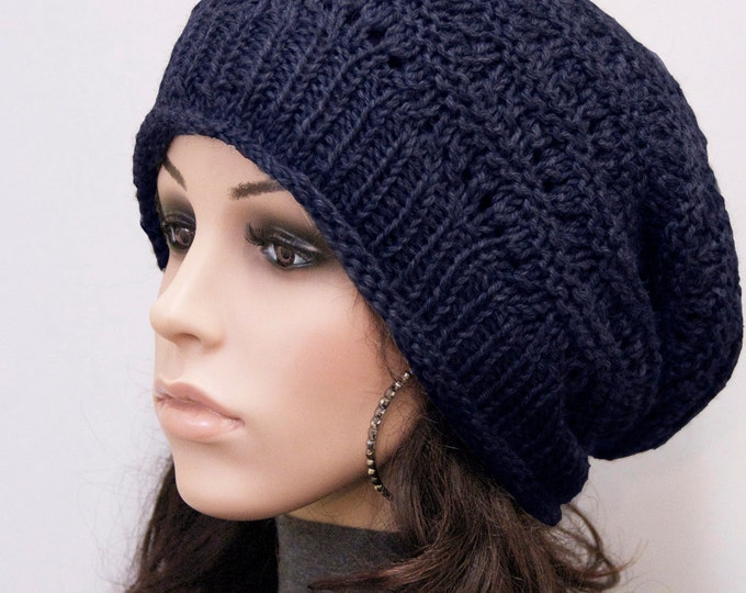 Hand knit woman men wool hat Navy slouchy  hat unisex hat