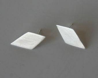 Sterling Silver Diamond Shape Earrings, Diamond Earrings, Geometric Earrings, Post Earrings, Stud Earrings, Silver Earrings, 925
