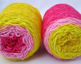 SALE - Sock Yarn - Hand Dyed Gradient Sock Yarn, Hand Dyed Yarn in yellow, pink, rose pink, hot pink - fingering weight, superwash yarn
