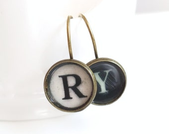 Typewriter Key Personalized Earrings -  Antique Brass - Monogram Earrings