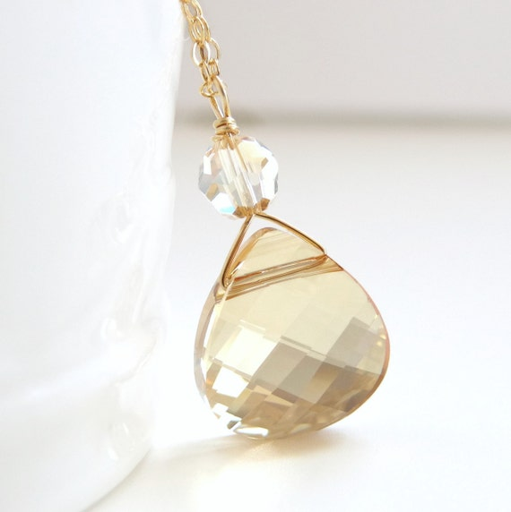 Crystal golden shadow briolette necklace -bridal - weddings