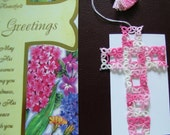 Cross Bookmark Tatted Variegated Pink Lace Shuttle Tatting with Vintage Thread Easter