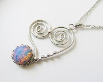 Wirework Heart Pendant Necklace, Handmade Wirework Jewelry