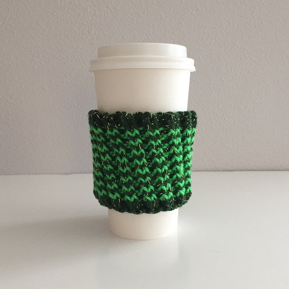 Knitting Pattern For Mug Holder : Green striped knit coffee cup holder coffee cozy by knitsplus