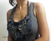Fabric bib necklace with chiffon trim / beaded necklace / jewel necklace - KA192