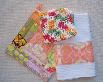 Kitchen Set, Amy Butler Fabric, Pink & Orange, Pot Holder, Crochet Cotton Dish Cloth, Dish Towel, Made in America