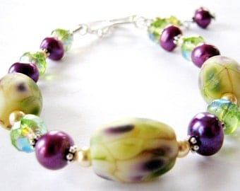 SALE 35% OFF ~ Floral Lampwork Glass Bracelet, Purple Green Ivory, Pearls, Crystals, Bali Sterling Silver, Ready To Ship