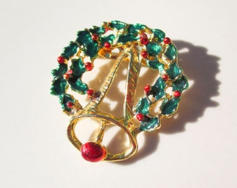 Christmas Wreath and Bell Brooch Pin Vintage xmas jewelry