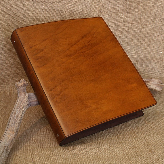 Large Classic Brown Leather 4 Ring Binder A4 Organizer
