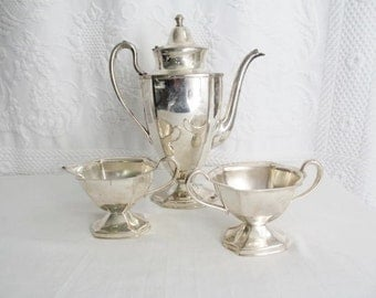 Art Deco Silver Plated Coffee Service Set  Pot Creamer Sugar Keystoneware