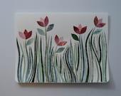 Pink Flowers Note Card, OOAK, Original Hand Cut Vintage Wallpaper, Spring Wildflowers, Spring, Summer, Sympathy, Friendship, Easter, Garden