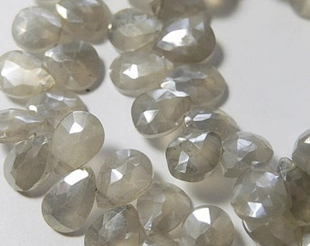 Moonstone  Gemstone. Mystic Gray. Faceted Pear Briolettes. 7-8mm. 4 Briolettes  (0mn2) SALE - 50 PERCENT Off. Was 8.00