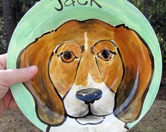 CUSTOM small, Medium or Large Handmade Ceramic Personalized portrait Dog Dish Bowl by Artzfolk